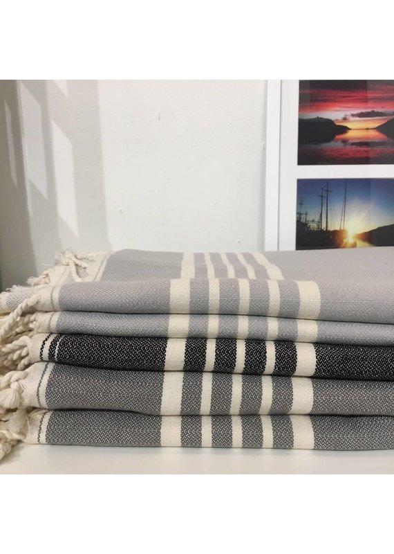 One Sky Inc. One Sky- Five Stripes Towel- Shades of Grey /Black