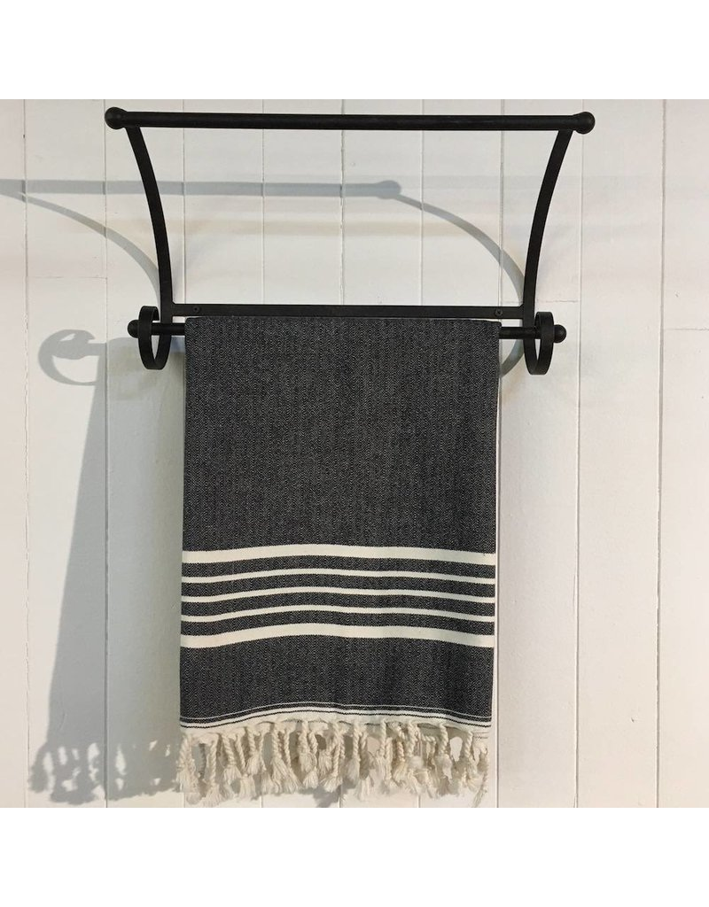 One Sky Inc. One Sky- Five Stripes Body Towel- Shades of Grey /Black