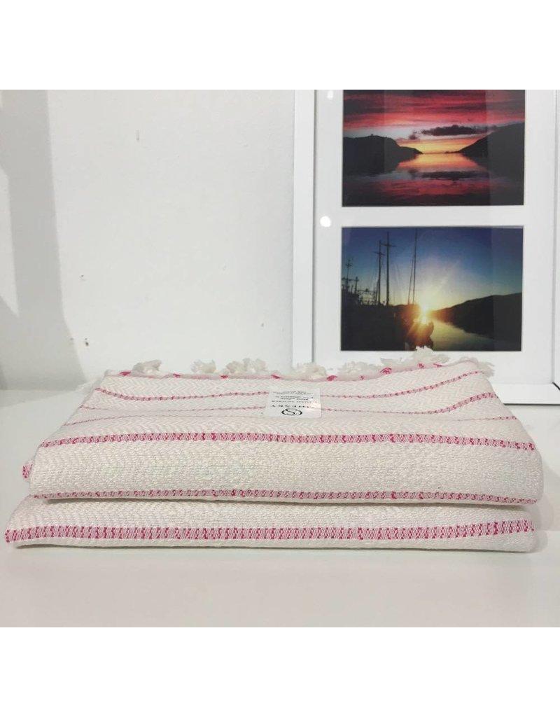 One Sky Inc. One Sky-Bamboo Hamam Hand Towel- White/Pink Lines