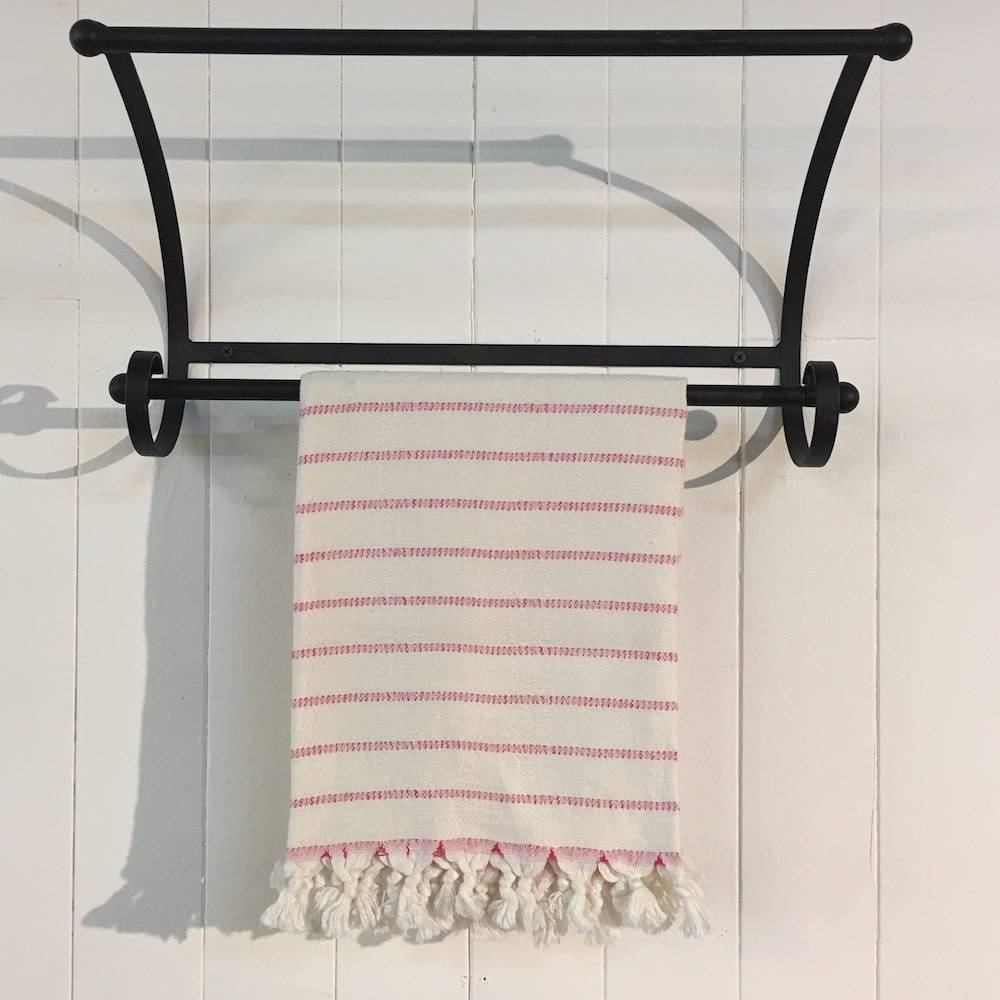 One Sky Inc. One Sky-Bamboo Hamam Hand Towel- White/Pink Lines