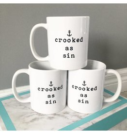 Saltwater Designs Saltwater Designs-Crooked As Sin-Mug-White