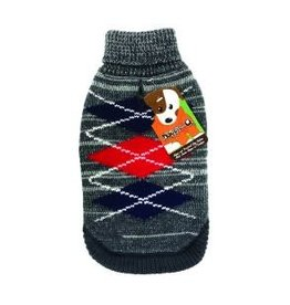 Doggie-Q Doggie-Q Grey Diamonds Sweater - 12in