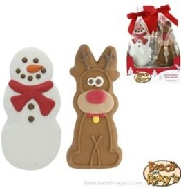 Bosco and Roxy's Bosco and Roxy's Furry Christmas Prepackaged Tall Snowman and Reindeer