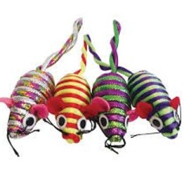 Cat Love Furry Frolics Glitter Stripe Catnip Mice 4pc