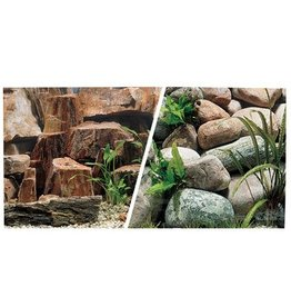 "Marina Marina Double Sided Aquarium Background - Rocky Canyon/Riverbed 18"" x 1ft"