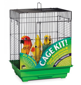 "Prevue Hendryx Prevue Hendryx Square Roof Bird Cage Kit - Black/Green - 18"" x 14"" x 22"""