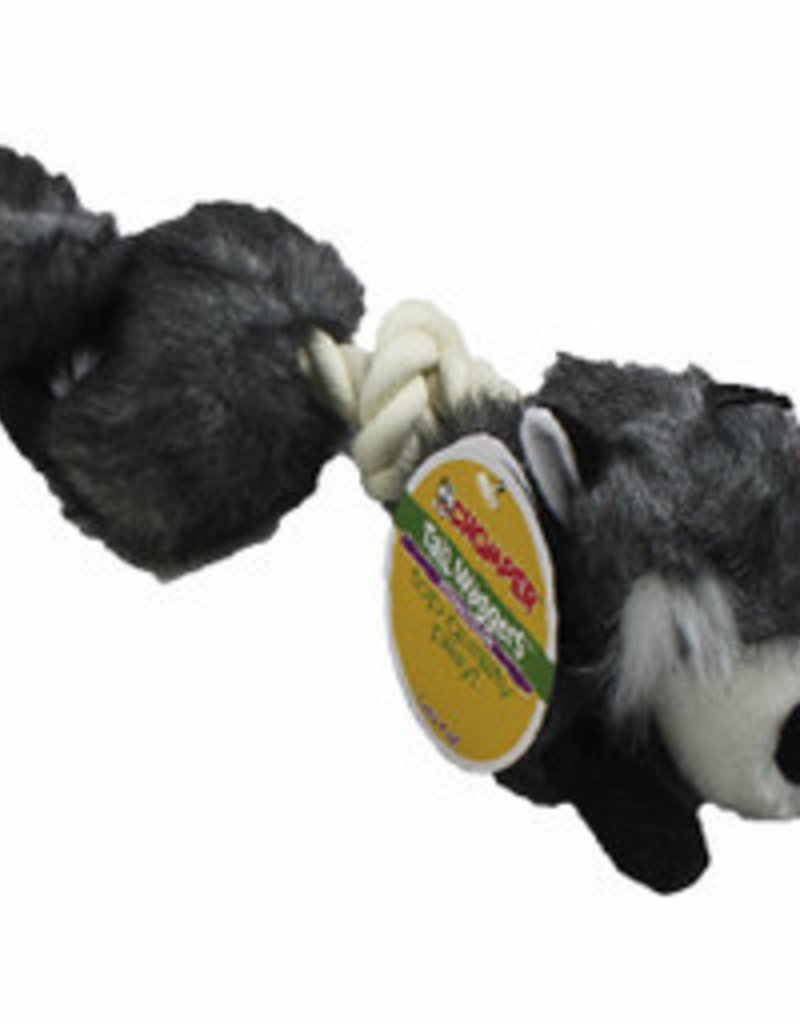Chomper Tail Wag Safari Rope Raccoon