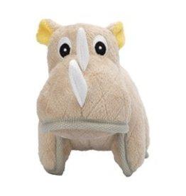 Zeus Safari Dog Toys - Beige Rhino - 15 cm (6 in)