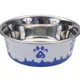 Maslow Trade MASLOW TRADE Design Series Non Skid Paw Design Bowls Blue White 28oz