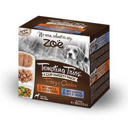 zoe Zoë Tempting Trios Poultry Variety Pack - 4 cups - 100 g (3.5 oz)
