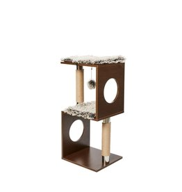 Bud-Z Cat Tree Cube Design Wood Look Brown 34in