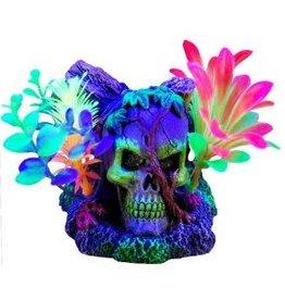 """Marina Marina iGlo Ornament - Skull with Vines and Plants 4.5"""""""
