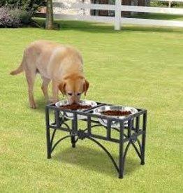 Advance pet wood single dinner/ metal bone accent