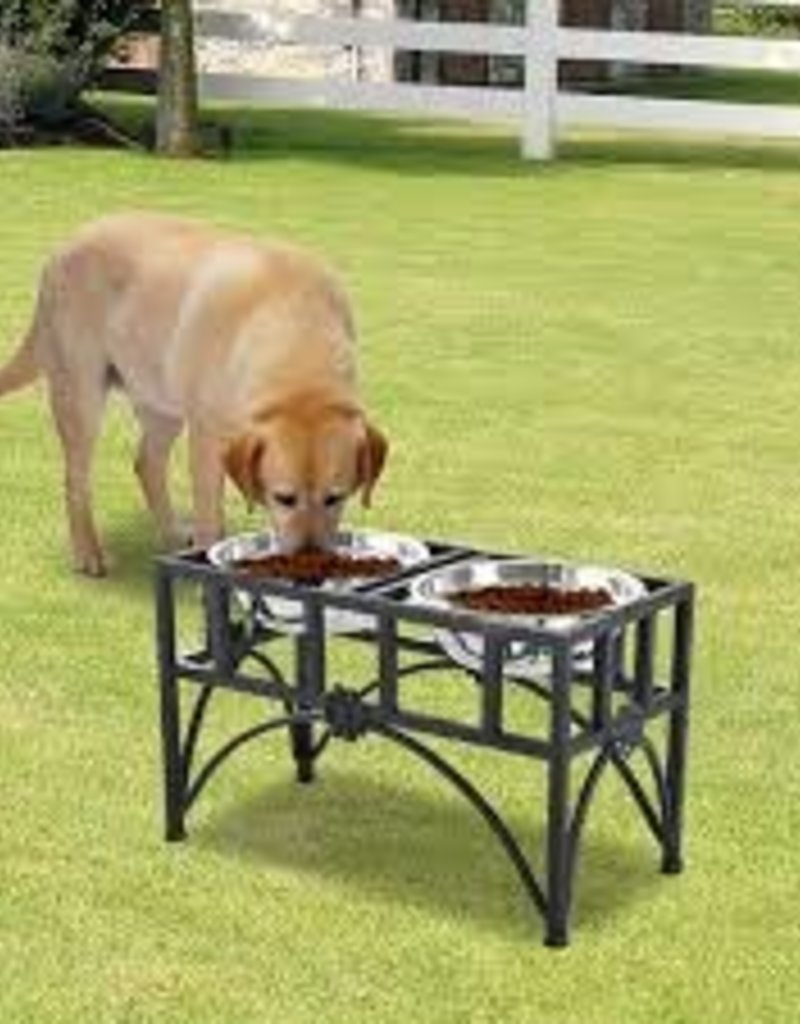 Advance pet wood single dinner/ metal bone accent