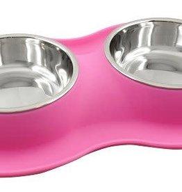 Foufou Fou Fou Dog Silicone Double Bowl Pink S