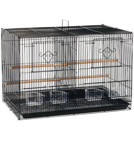 "Prevue Hendryx Prevue Hendryx Divided Flight Bird Cage - Black - Multipack - 24"" x 16"" x 16"""