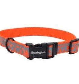 "Remington Adjustable Reflective Dog Collar Orange Deer Mountains 18-26"""