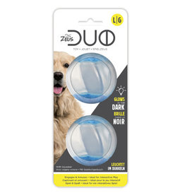 Zeus Duo Ball with  Squeaker & Glow Large - 2pk