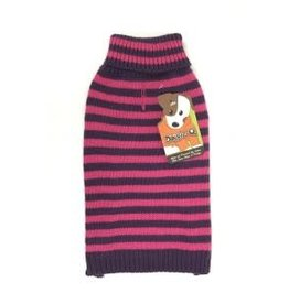 Doggie-Q Doggie-Q Pink-Purple Stripe Sweater - 14in
