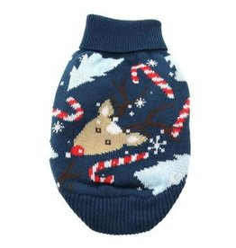 Doggie-Q Doggie-Q Soft Blue Reindeer Hoodie Sweater 12""