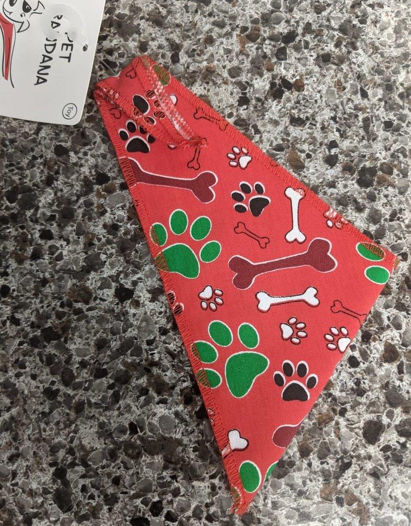 Christmas Bandana Red Bones and Paws XS