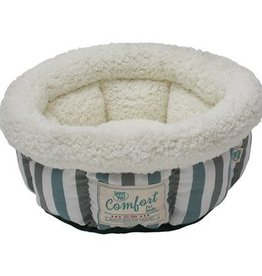 Happy Tails Happy Tails Round Bed Turquoise & Grey Stripes 15""