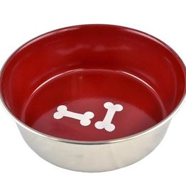 Unleashed Heavy Stainless Steel Bowl Red & Bones 96oz