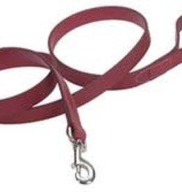 "Coastal Circle Oak Tanned Leather Dog Leash 1"" x 6ft Red"