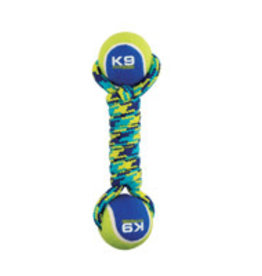 Zeus K9 Fitness Double Tennis Ball Rope Dumbbell with Tennis Ball - Medium