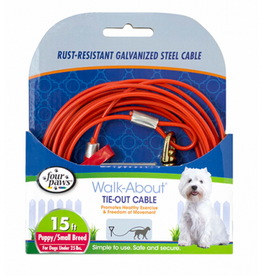 Four Paws Tie Out Cable - Puppy - Orange - 15ft.