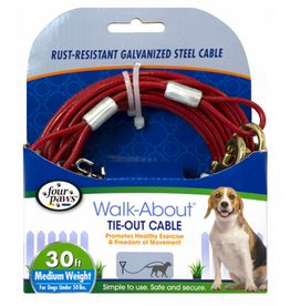 Four Paws Tie Out Cable - Medium Weight - Red - 30ft.