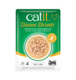 Catit Catit Divine Shreds - Chicken with Liver & Broccoli - 75g Pouch