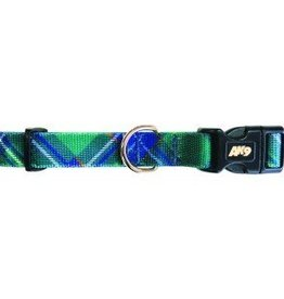 "AK-9 AK-9 Tartan Adjustable Nylon coll 5/8 x 14-18"" Green"