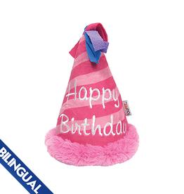 Foufou FouFou Plush Crinkle Birthday Hat Dog Toy - Pink