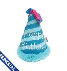 Foufou FouFou Plush Crinkle Birthday Hat Dog Toy - Blue