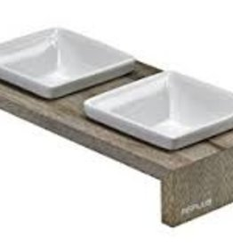 bowsers Artisan Double wood feeder fossil SMALL