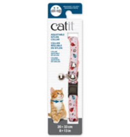 Catit Catit Adjustable Breakaway Nylon Collar with Rivets - Pink and White with Ladybugs