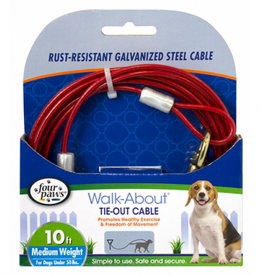 Four Paws Tie-Out Cable Medium Weight Red 10'
