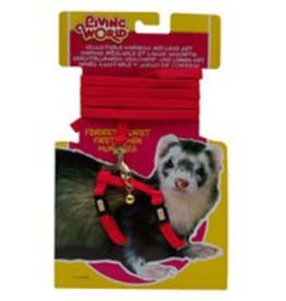 Living World Adjustable Harness and Lead Set for Ferrets - Red