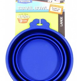 Petmate Silicone Travel Bowl Blue 3cup