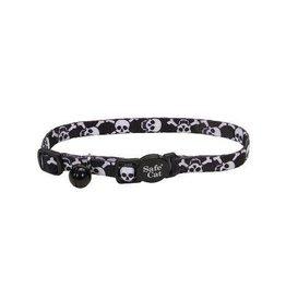 Safe Cat Fashion Adjustable Collar Black Skulls 3/8in X 8-12in