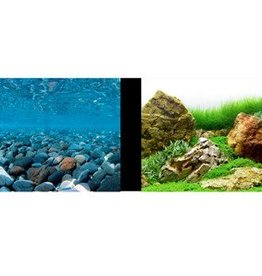 Marina Marina Double-Sided Aquarium Background - Stoney River/Japanese Garden Scenes - (12 in H x 1 ft L)