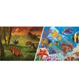 "Marina Marina Double Sided Aquarium Background - Marine/Dinosaur - (12"" X 1 ft)"