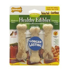 Nylabone Healthy Edibles Longer Lasting Bones Variety Pack Triple Pack Regular