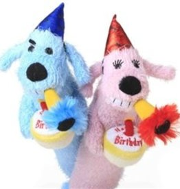 "puppy cake Puppy Cake Happy Birthday Loofa Dog 12"" with Squeaker - Pink"