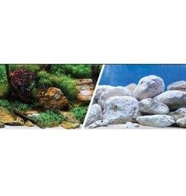 "Marina Marina Double Sided Aquarium Background - Aqua Garden/Bright Stone - (24"" x 1 ft)"