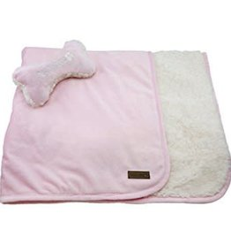 Foufou FouFou Dog Puppy Blanket 30x35 Set With Bone Baby Pink