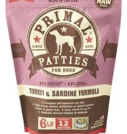 Primal Primal Frozen Canine Turkey & Sardine Patties 6lb