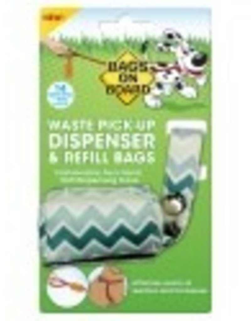Bags on Board Bags on Board Fashion Dispenser Green Chevron with 14PK Roll