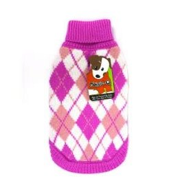 Doggie-Q Doggie-Q Pink Argyle Sweater - 14in